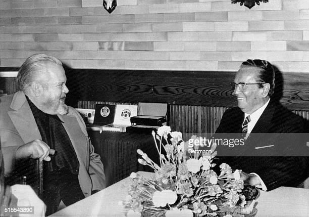 Brdo Kod Kranja, Yugoslavia: Yugoslav President Josip Broz Tito, , in conversation with famous film-director Orson Welles, whom he received in his...