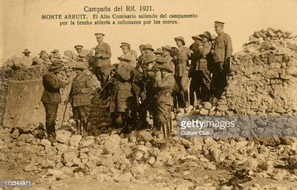 Breached spanish wall at Mt Arruit Morocco 1921 The High Commissioner of Spanish forces stands before the breach which was made by a Berber artillery...
