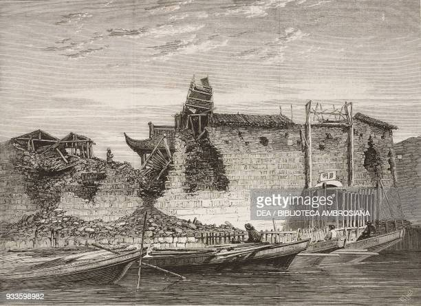 Breaches in Ningbo city walls, China, illustration from the magazine The Illustrated London News, volume XLI, August 2, 1862.