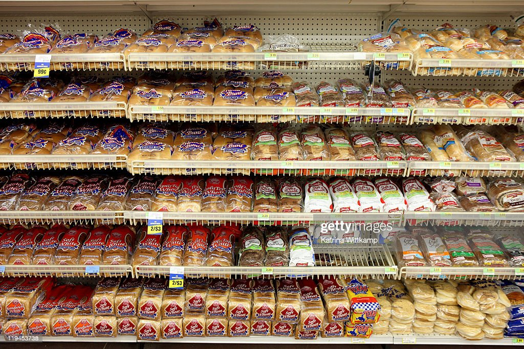 Bread aisle of grocery store. : Stock Photo