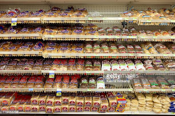 Bread aisle of grocery store.