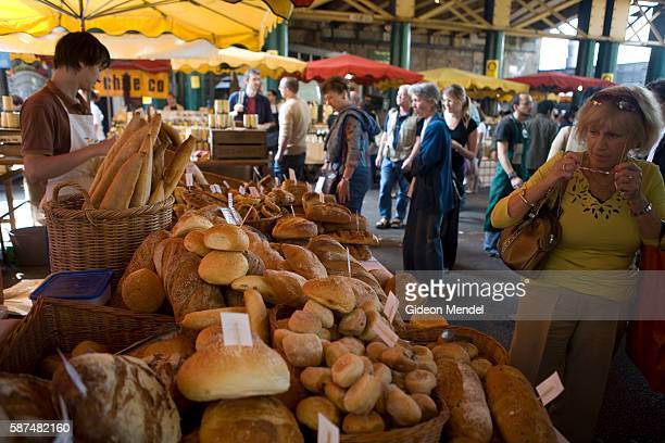 A bread and pastry stall at Borough Market a wholesale and retail food market in Southwark South East London It is is regarded by many to be one of...