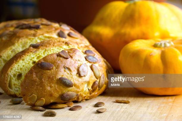 bread and pumpkin - lutavia stock pictures, royalty-free photos & images
