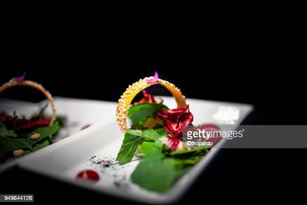 bread and vegetables tapas - comida gourmet fotografías e imágenes de stock