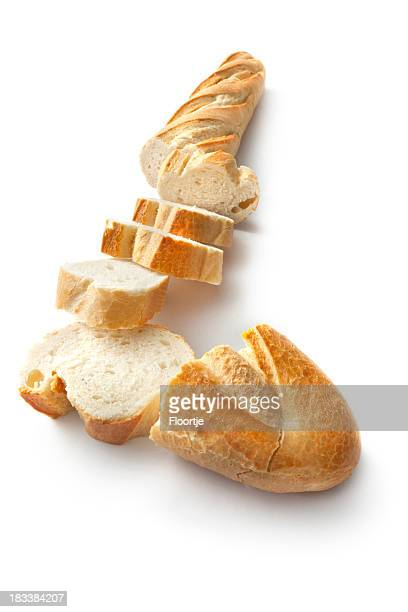 bread: baguette isolated on white background - baguette stock pictures, royalty-free photos & images