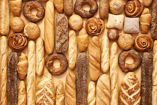 Bread baking rolls and croissants 931658430