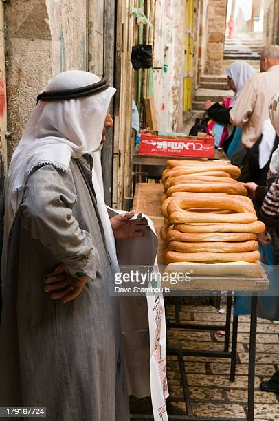 Bread cart in the old city of Jerusalem, Israel