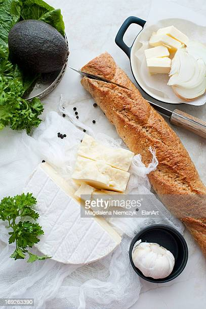 Bread, cheese, garlic and butter