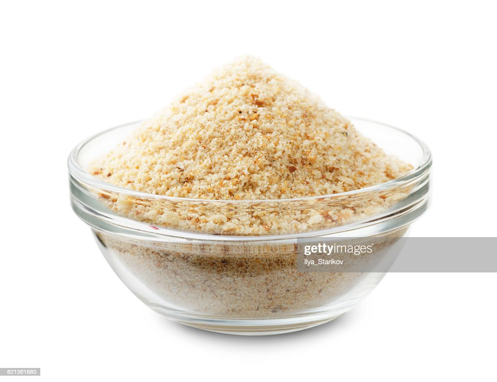Bread crumbs in a glass bowl : Stock Photo