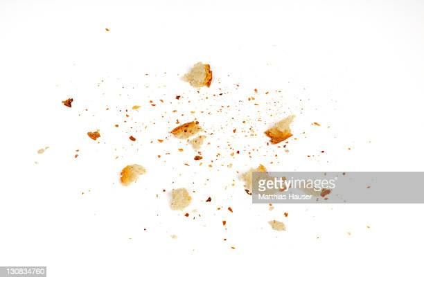 Bread crumbs on white