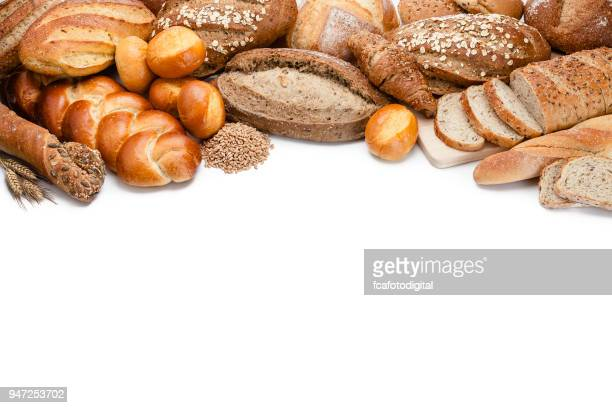 bread frame on white background - arrangement stock pictures, royalty-free photos & images