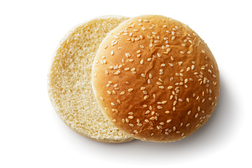 Bread: Hamburger Bun Isolated on White Background 962108700