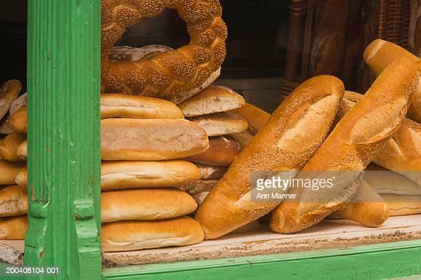 Bread in bakery window, close-up