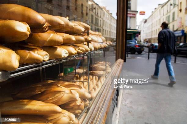 Bread in window on Rue Ramponeau in Belleville.