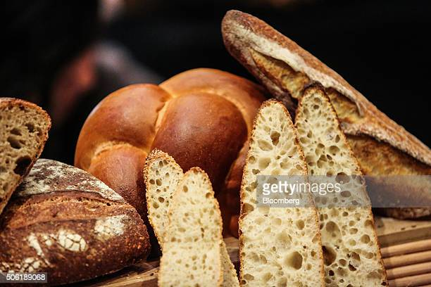 Bread is arranged for display during the Best Baguette in NYC competition in New York US on Thursday Jan 21 2016 Fourteen of the city's best bakers...
