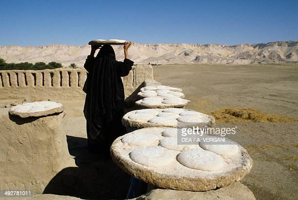 Bread making dough laid out in the sun Dakhla Oasis Eastern Sahara Egypt