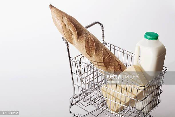 Bread, milk and cheese in shopping trolley
