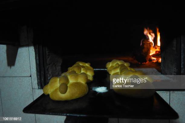 Bread of the Dead looks as part of the Pan de Muerto manufacturing on October 30 2018 in Mexico City Mexico Pan de Muerto is a traditional Mexican...