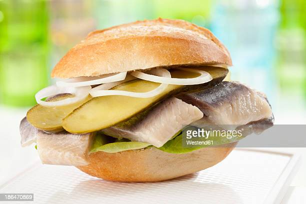 Bread roll with matjes herring, pickled gherklin and onions, close up