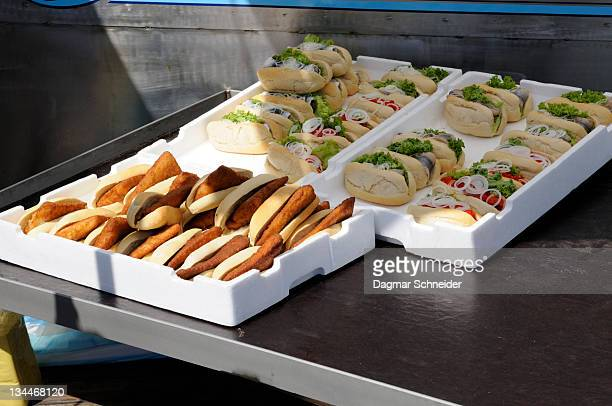 Bread rolls with fish for sale in Wismar, Mecklenburg-Western Pomerania, Germany, Europe