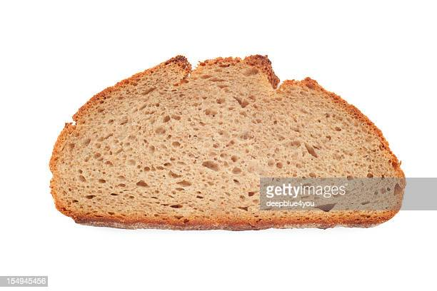 bread slice on white with shadow