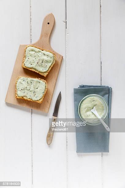 Bread slices with avocado dip, home-baked slices of bread