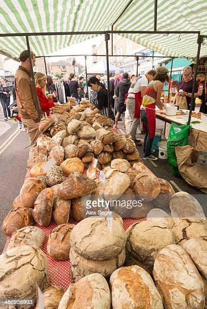 Bread stall at Broadway Market Hackney London UK