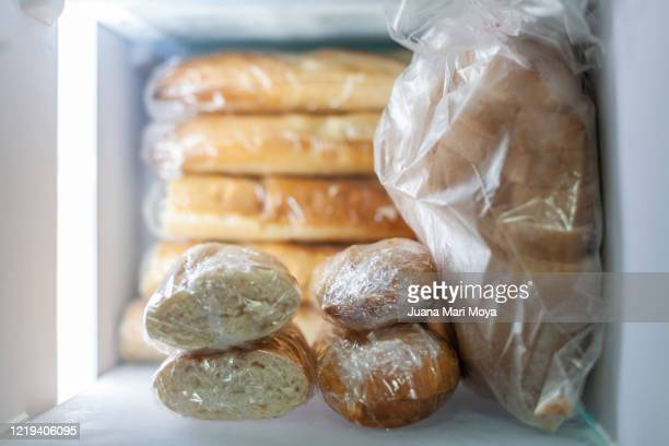 bread stored in freezer - bread stock pictures, royalty-free photos & images
