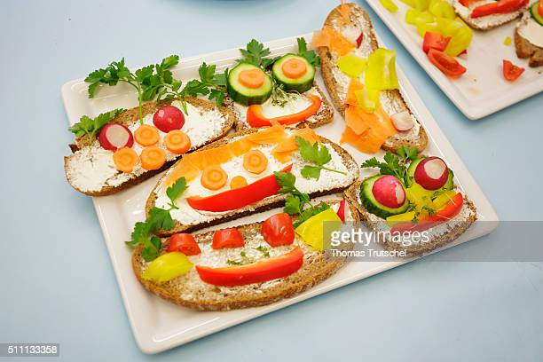 Bread topped with fresh vegetables on February 16 2016 in Berlin Deutschland