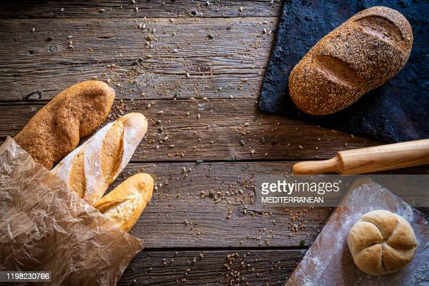 bread varied group with copy space - french food stock pictures, royalty-free photos & images