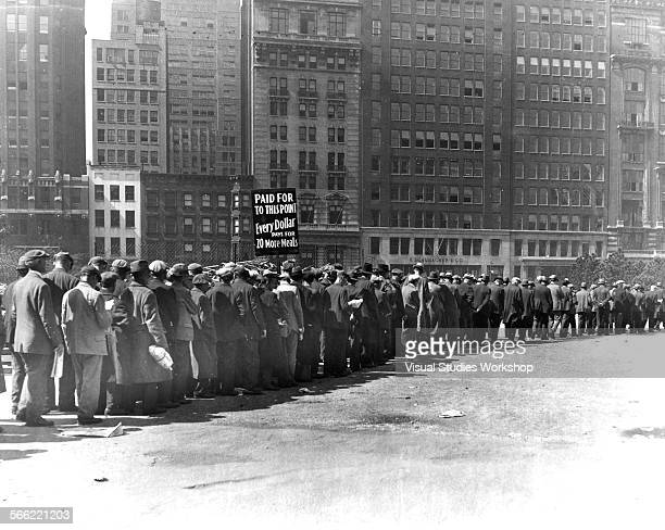 Breadline of unemployed, New York, New York, early to mid 20th century.