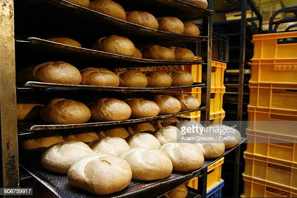 Breads In Baking Rack At Bakery