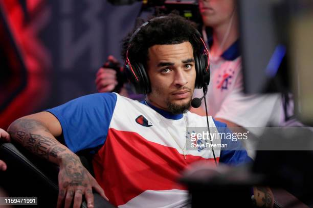 BreadwinnerLA of 76ers Gaming Club competes in a game against TWolves Gaming during Game Five of the NBA 2K League Finals on August 3 2019 at the NBA...