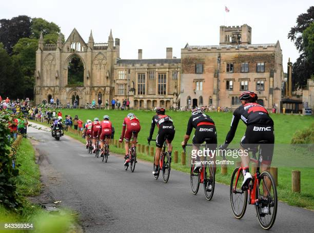 A break away group approaches Newstead Abbey during stage four of the 14th Tour of Britain 2017 on September 6 2017 in Newark upon Trent United...