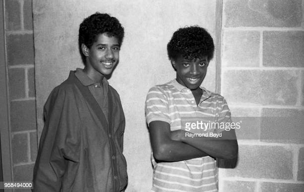 Break dancers Chad Elliot and Jermaine Dupri poses for photos backstage at the UIC Pavilion in Chicago Illinois in January 1984