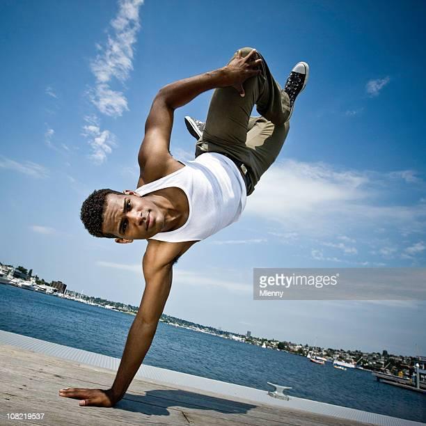 break dancer on pier - vest stock pictures, royalty-free photos & images