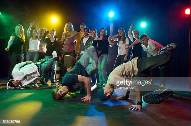 Break dancers in a club