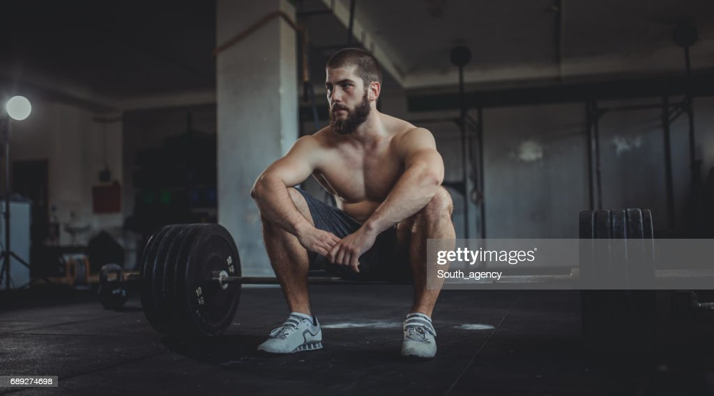 Break from lifting : Stock Photo