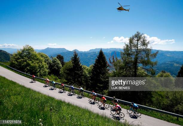 A breakaway group rides in the ascent of Cima Campo during stage twenty of the 102nd Giro d'Italia Tour of Italy cycle race 194kms from Feltre to...