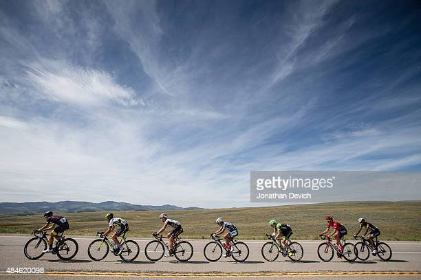 A breakaway group rides under cloudy skies during stage 4 of the Tour of Utah on August 6 2015 in Soldier Hollow Utah