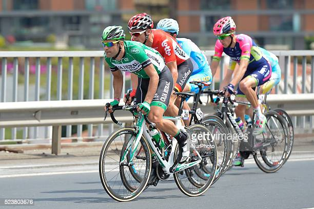 A breakaway of five riders led by Luis Mas and Adam Hansen pass by Bosphorus Bridge during the opening stage of the 52nd Presidential Tour of Turkey...