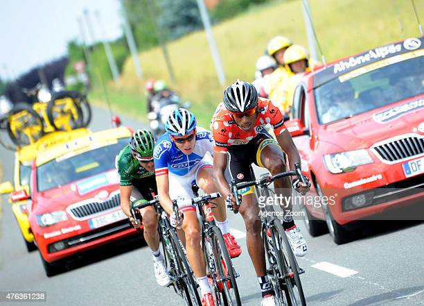 Breakaway with Daniel Teklehaimanot of team MTNQHUBEKA during Stage Two of the Criterium du Dauphine on June 8 2015 in Le Bourget du Lac France