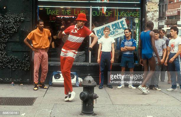 Breakdancers, B-Boys, on the street, New York, USA 1981.