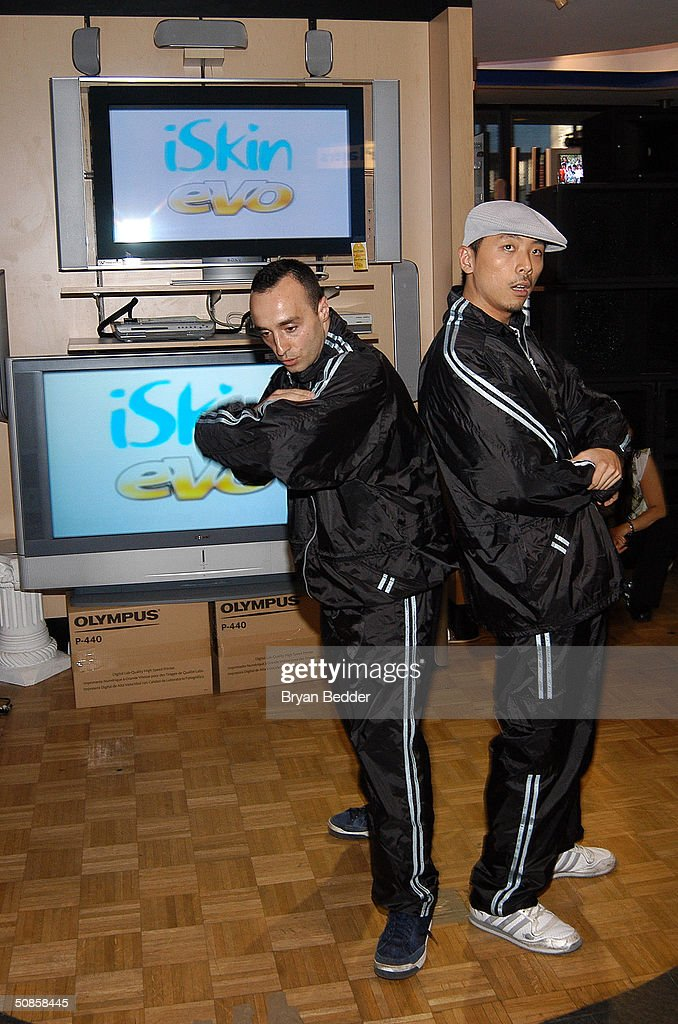 Breakdancers from the Dynasty Rockers perform at the ISkin and DataVision launch event May 19, 2004 in New York City.
