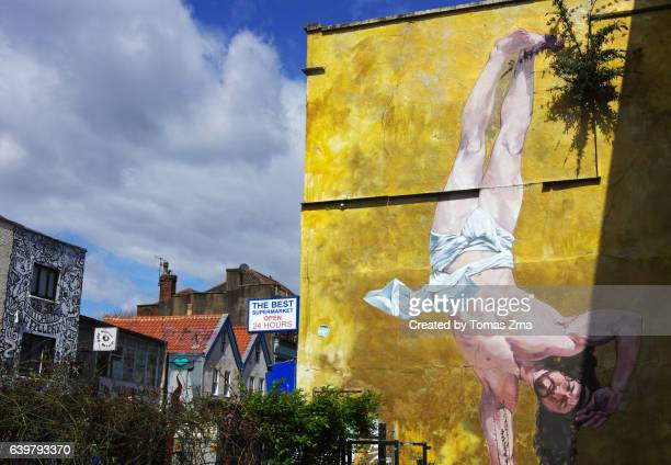 breakdancing jesus by cosmo sarson at the canteen - bristol stock photos and pictures