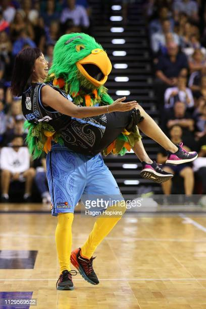 Breakers mascot Cheeky the Kea entertains during the round 18 NBL match between the New Zealand Breakers and the Illawarra Hawks at TSB Bank Arena on...