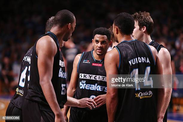 Breakers players form a huddle during the round 10 NBL match between the Adelaide 36ers and the New Zealand Breakers at Titanium Security Arena on...