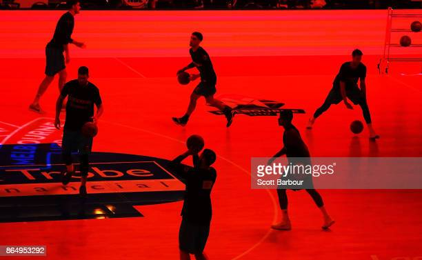 Breakers players warm up before the round three NBL match between Melbourne United and the New Zealand Breakers at Hisense Arena on October 22 2017...