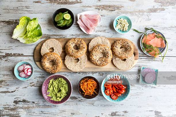 Breakfast, bagels, vegetables, salmon and ham