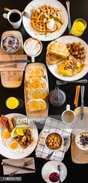 breakfast, brunch table, no people, from directly above - mmeemil stock photos and pictures